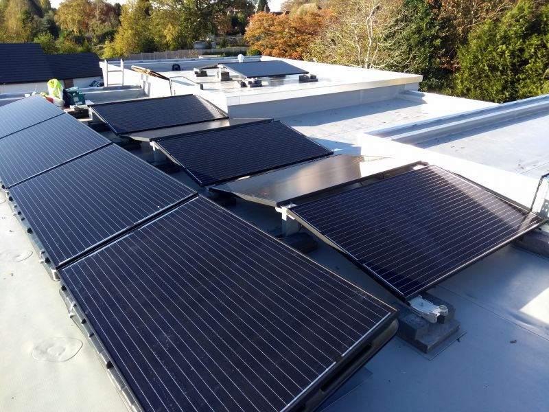 Flat roof solar system: Swipe To View More Images